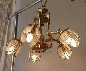 Lampadario vintage ottone francese Chandelier Lustre