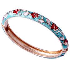 14K Gold Fille Blue Enamel Red Flower womens Charm Chinese Bangle Bracelet Gifts