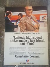 1974 print ad-United Airlines West Coasters-High speed tickets made a friend