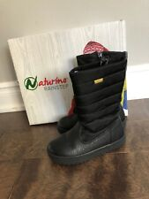 Naturino diran rain step girls quilted boot. Size 28Eu/11 Us black, fur lined.