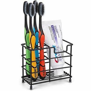Stainless Steel Bathroom Stand Toothbrush Toothpaste Holder (Black)