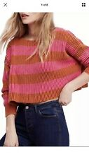 Free People Women's OB826455 Pink Just My Stripe Sweater Large, NEW