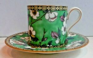 Antique Wedgwood Hand Painted Coffee Can & Saucer Flowers Green W 1217 17