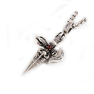 WEAPON OF GOD INDRA VAJRA 925 STERLING SILVER HIDUISM RED STONE PENDANT jo-024