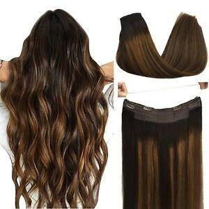Halo Hair Extensions Human Hair Extensions, DOORES Balayage Dark Brown