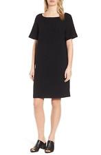 EILEEN FISHER Cotton tencel stretch geometry dress £315.00 black size xxs