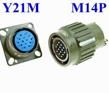22mm M 14P Electrical Connector Military PLUG Male Pin + Base Female Receptacle
