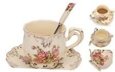 Foraineam Tea Cup and Saucer Set, 8 oz. Ivory Porcelain Coffee Cup Vintage Flora