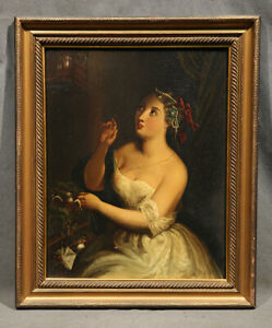 19th Century Painting  Oil on metal Beautiful Lady with Bird