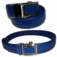 Men's Blue Leather Dress Belt, (1XL) Auto-Lock belt Men's Blue Quick lock belt.