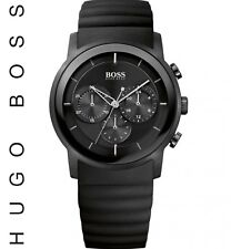 NEW Hugo Boss HB1512639 Black Ion Plated Steel Chronograph Silicone Men's Watch