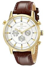 Tommy Hilfiger Original 1790874 Men's Brown Leather / Silver Dial Watch 44mm