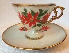 Tea Cup & Saucer,Vintage,Christmas, Lustreware,Japan,Brinn's ,w/original Stickers