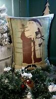 PRIMITIVE VINTAGE FOLK ART CABIN FATHER CHRISTMAS SANTA SNOWMAN WINTER PILLOW