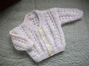 """HANDKNITTED CARDIGAN..TO FIT 14"""" CHEST(APPROX NEWBORN)"""