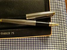 VINTAGE PARKER 75 STERLING SILVER FOUNTAIN PEN FLAT TOP & BOTTOM
