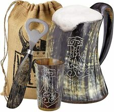 Viking Culture Ox Horn Mug, Shot Glass,and Bottle Opener 3 pic set Thors Hammer