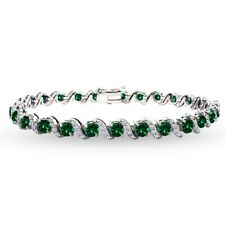 925 Silver Simulated Emerald & White Topaz 4mm Round S Design Tennis Bracelet