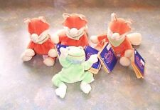 4 NOUKIE SOFT TOYS.3 LITTLE WOOD AND 1 FRED.WASHABLE 15 CMS TALL.NEW WITH TAGS
