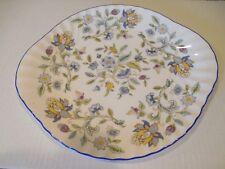 MINTON BICENTENARY HADDON HALL BLUE HANDLED CAKE PLATE FLORAL PLATTER MINT