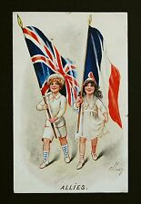 WW1 Postcard Allies Union Jack North Road Petersfield Hampshire