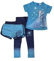 NEW Disney Frozen Elsa & Anna Girls' 3-Piece Tee, Shorts & Leggings Set