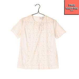 RRP €175 PAUL & JOE Top Blouse Size 1 Lace Front Full Button Back Made in France