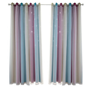 Curtain Blackout Star Curtains Bedroom Living Room Double Layer Windows Drapes