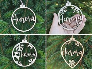 Personalised Wooden Bauble Hanging and Bunting Name Gift Tag Christmas Decor, C4
