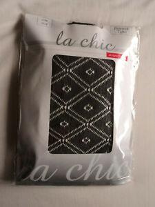 Ladies La Chic black diamond  patterned tights