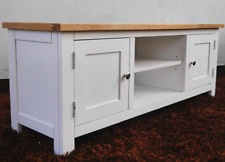 Large Oak TV Stand White Rustic Cabinet Media Storage Furniture Solid Wood Unit