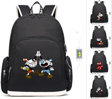 Game Cuphead laptop travel bag Backpack usb charging Kids Schoolbag Mochila