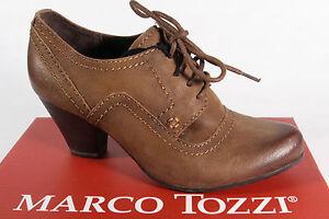 Marco Tozzi Escarpins Chaussures à Lacets Cuir Braun Neuf