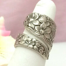 Sterling Silver NARCISSUS Spoon Ring RARE Silverware Jewelry Vintage 1935,$0SHIP