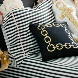 4 pc. Pottery Barn Teen Emily & Merritt Pirate black Stripe Queen Sheet Set