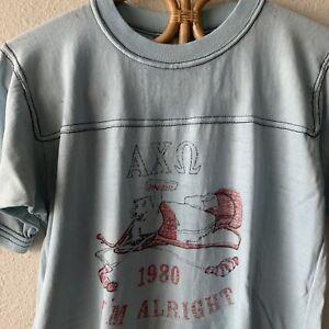 Vintage 80s Distressed Soft Thin T Shirt College Alpha Chi Omega Sorority M