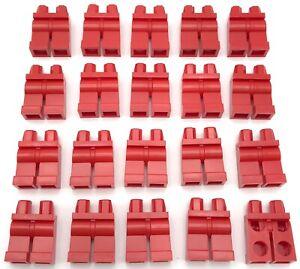 Lego 20 New Minifigure Red Hips and Legs Monochrome Plain Legs City Pants