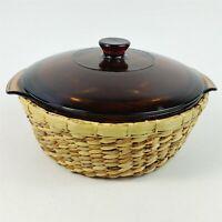Anchor Hocking Fire King #437 Dish w/ Lid 1-1/2 QT & Woven Basket Trivet Vintage