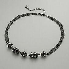 NEW! SIMPLY VERA WANG Jet Tone Crystal Dazzle Ball Choker Necklace FREE SHIPPING
