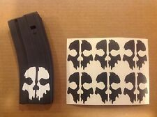 Call of Duty Ghosts Skull Sticker 6 pack, M4, AR, AK For Airsoft Magazine, BLACK