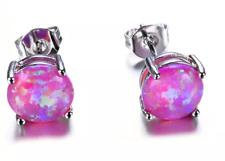 Pink Fire Opal Stud Earrings - Sterling Silver - 6mm Round