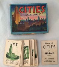 Vintage Game of Cities Art Deco Card Game Lithograph Box Complete