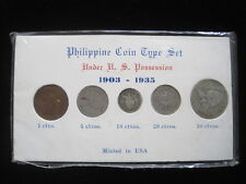 PHILIPPINES 1903 - 1935 COIN TYPE SET 1 5 10 20 50 CENTAVOS USA SILVER 30# MONEY