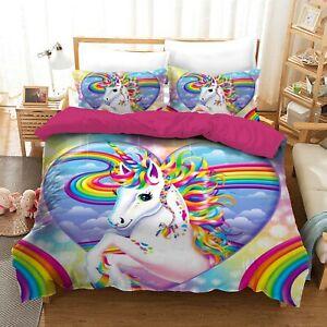 Heart Unicorn Quilt/Duvet/Doona Cover Set Single Double Queen Size