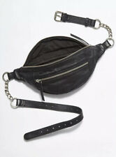 NEW Free People Riley Chain Belt Bag Black Leather Fanny Pack