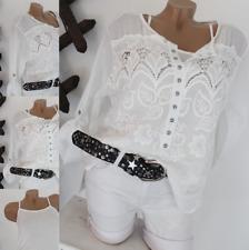 Italy Bluse Hemd Bluse Tunika Leinen Optik Blusenhemd  36-38-40-42-44 Baumwolle