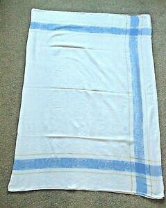 "WHITE/BLUE/ORANGE COTTON RECTANGULAR FLOWERED TABLECLOTH.66""LONG X 48""WIDE"