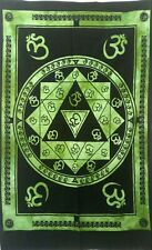 Green Color Beautiful Design Om Mantra Small Tapestry Poster Wall Hanging Cotton