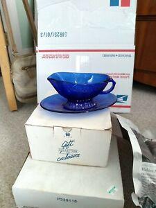 Vintage Avon Royal Sapphire Cobalt Blue Glass Gravy Boat & Underplate France EUC
