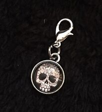 Day Of The Dead Charm Sugar Skull Clip Bracelet Purse Zip Flower Mexican Love G